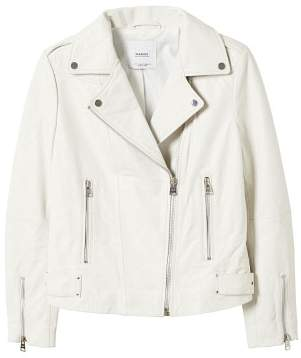 MANGO Zipper leather biker jacket