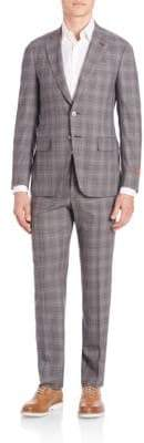 Isaia Plaid Two-Button Wool Suit