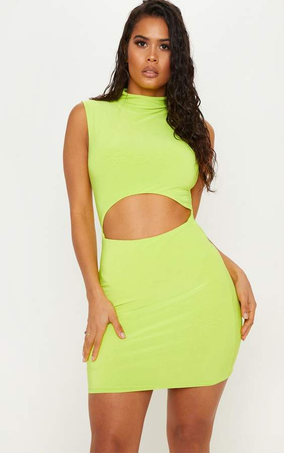 Neon Lime High Neck Cut Out Slinky Bodycon Dress