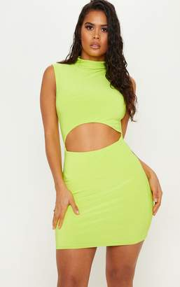 PrettyLittleThing Neon Lime High Neck Cut Out Slinky Bodycon Dress