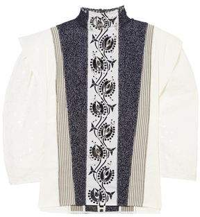 05b2816bb7c77f Chloé Embellished Embroidered Linen, Tweed And Canvas Blouse