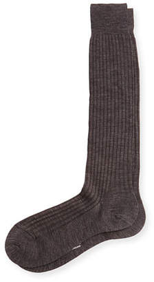 Pantherella Men's Over-the-Calf Ribbed Merino Wool Socks