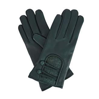Gizelle Renee - Catherine Green Leather Gloves With Green Tweed