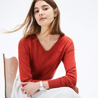Lacoste Women's V-neck Cotton Sweater