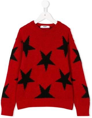 MSGM Kids star detail sweater