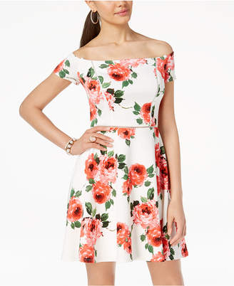B. Darlin Juniors' Printed Off-The-Shoulder Fit & Flare Dress