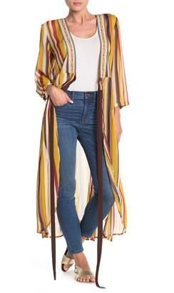 ARATTA Floral Print Sheer Striped Coat
