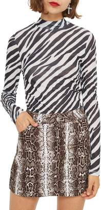 Topshop Zebra Print Mock Neck Top