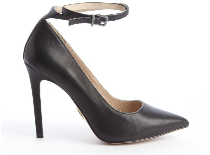 Pour La Victoire Black Leather Anklestrap Pointed Toe Pumps