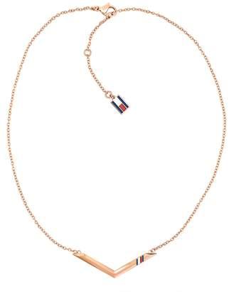 Tommy Hilfiger Rose Gold Chevron Necklace
