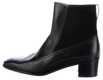 Salvatore Ferragamo Leather Brogue Ankle Boots