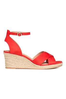 H&M Wedge-heel Sandals - Red - Women