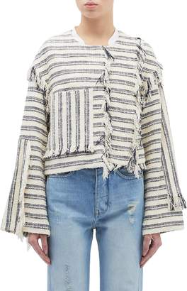 3.1 Phillip Lim Patch pocket fringe stripe bouclé cropped jacket