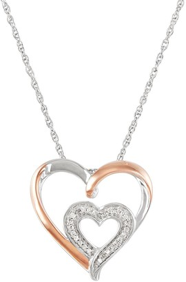 Two Hearts Forever One Sterling Silver 1/10 Carat T.W. Diamond Double Heart Pendant Necklace