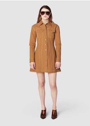 Derek Lam 10 Crosby Long Sleeve Button-Down Dress With Topstitching