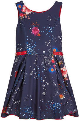Zoe Celestial Floral & Stars Swing Dress w/ Studded Ribbon Detail, Size 4-6X