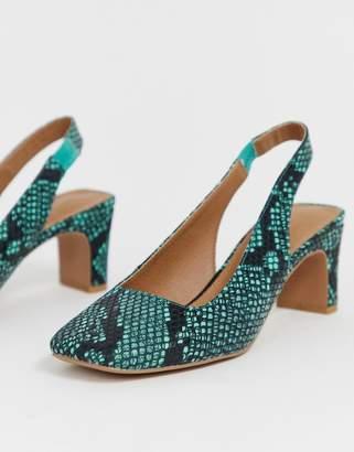Asos Design DESIGN Serpent slingback mid heels in snake print