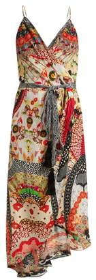 Camilla Floral Print Silk Crepe Wrap Dress - Womens - Red Multi