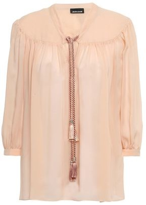 Just Cavalli Tasseled Gathered Georgette Blouse