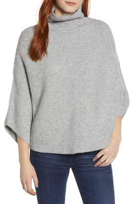 Caslon Rib Knit Turtleneck Poncho