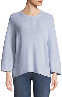 Eileen Fisher Bell-Sleeve Rib-Knit Sweater, Plus Size