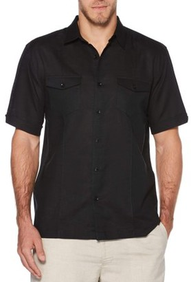 Cafe Luna Big Men's Short Sleeve Linen Cotton Single Tuck Woven Shirt with Upper Pockets