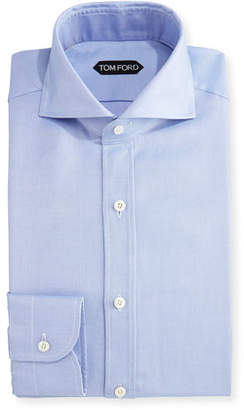 Tom Ford Tailored-Fit Textured Oxford Dress Shirt, Blue