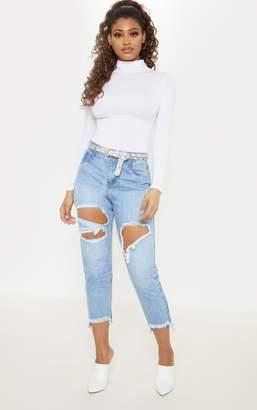 PrettyLittleThing Tall Light Wash Distressed Frayed Hem Jeans