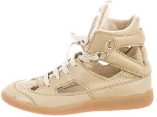Maison Martin Margiela Leather High-Top Sneakers $195 thestylecure.com