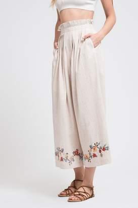 J.o.a. Embroidered Wide-Leg Pants