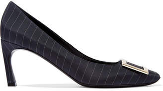 Roger Vivier Belle Vivier Trompette Pinstriped Satin Pumps - Navy