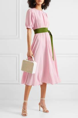 ARoss Girl x Soler Brooke Belted Silk Crepe De Chine Midi Dress - Blush