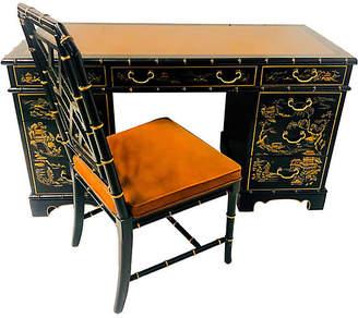 One Kings Lane Vintage Drexel Ebonized Chinoiserie Desk & Chair - Von Meyer Ltd.
