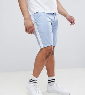 Asos DESIGN Plus Skinny Shorts In Light Blue With White Side Stripe