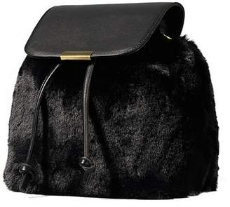 Yumi Black Faur Fur Backpack