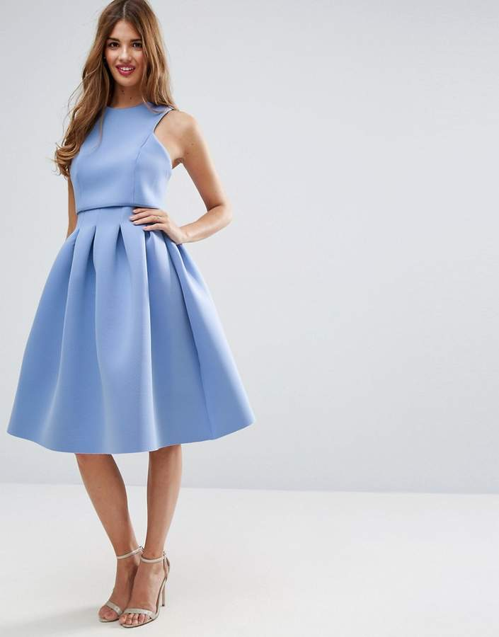 Asos ASOS Debutante Crop Top Midi Scuba Dress