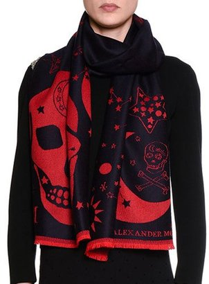 Alexander McQueen Oversize Skull Wool Scarf, Blue/Red $230 thestylecure.com
