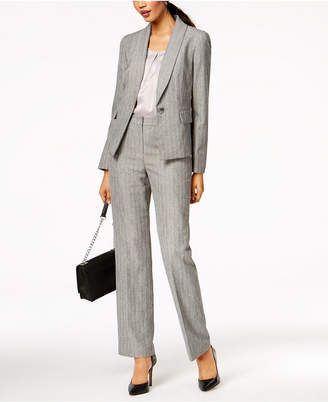 Le Suit Jacquard-Stripe Shawl-Collar Pantsuit, Regular & Petite