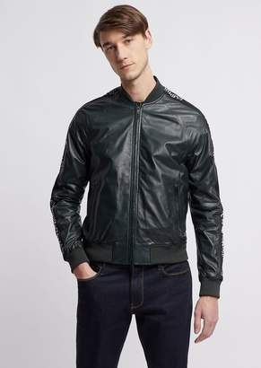 Emporio Armani Soft Nappa Leather Bomber Jacket With Jacquard Logo Bands