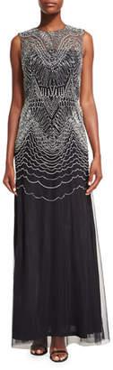 David Meister Sleeveless Metallic Geometric-Embroidered Gown