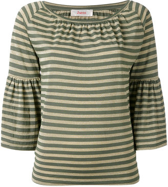 Jucca striped trumpet sleeve top $131.60 thestylecure.com