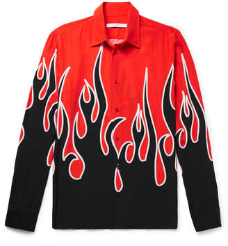 Givenchy Slim-Fit Printed Matte-Satin Shirt