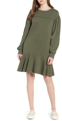 Caslon Ruffle Hem Cotton Blend Sweatshirt Dress