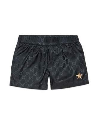 Gucci GG-Print Swim Trunks, Navy, Size 9-36 Months $165 thestylecure.com