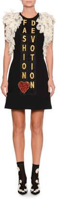 Dolce & Gabbana Ruffle-Lace Fashion Devotion Embroidered Crepe Dress