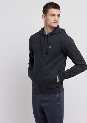 Emporio Armani Ea7 Baby French Terry Cotton Sweatshirt With Zip And Hood