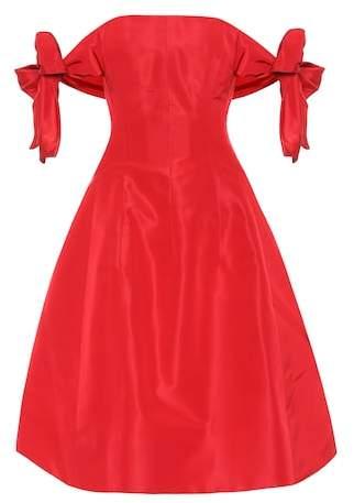 Silk satin off-the-shoulder dress