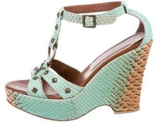 Isabella Fiore Embossed Wedge Sandals