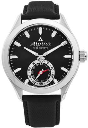 Alpina Men's 'Smart Watch' Black Dial Black Leather Strap Multifunction Motionx Swiss Quartz Watch