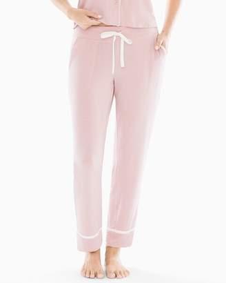 Cool Nights Satin Trim Ankle Pajama Pants Vintage Pink